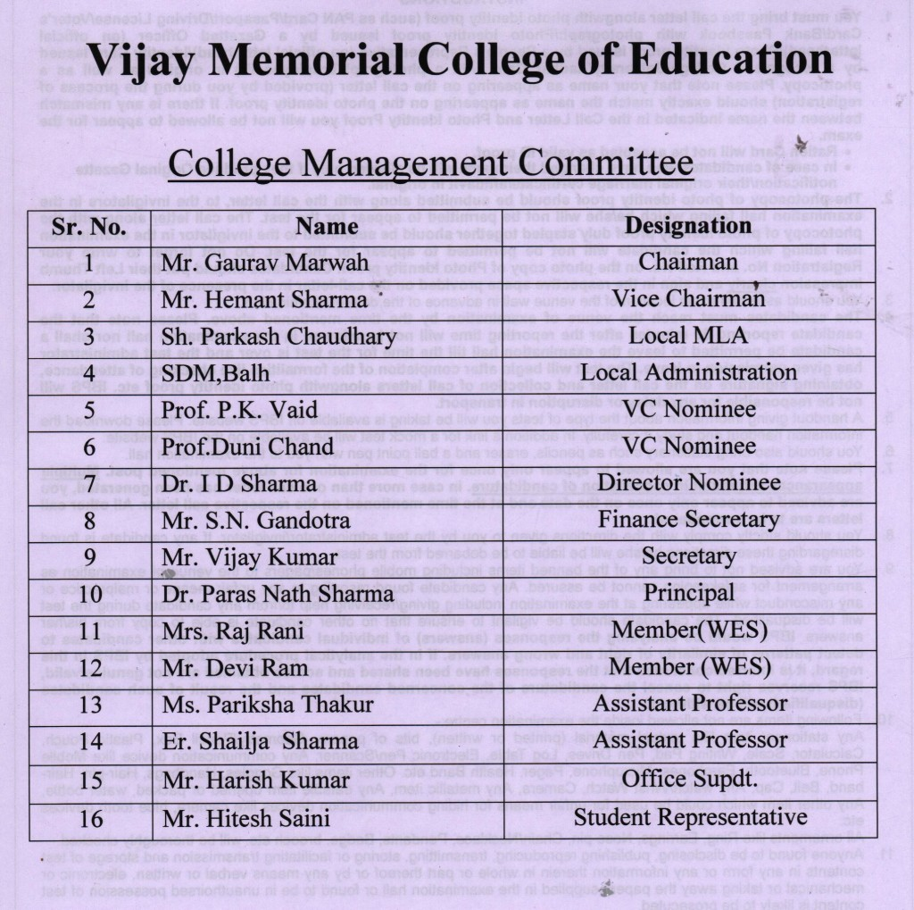 College Management Committee
